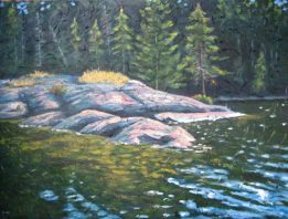 "Spruce Lake Point, acrylic on texturized canvas, 30"" x 40"", 2009"