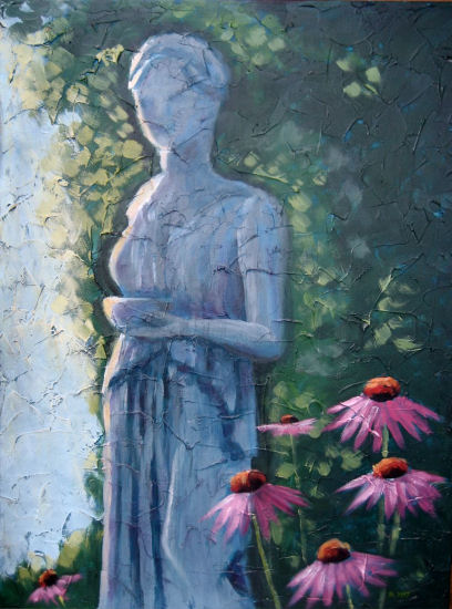 """Statue in my garden, Acrylic on textured canvas, 18"""" x 24"""", 2009"""