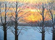 "Sunset on Summerhill Rd. 1, acrylic on canvas, 24"" x 36"", 2008"