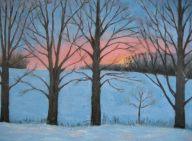"Sunset on Summerhill Rd. 2, acrylic on canvas, 24"" x 36"", 2008"
