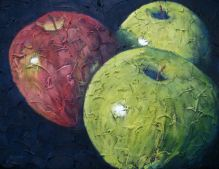 """Trio of apples 1, Acrylic on textured canvas, 16"""" x 20"""", 2009"""
