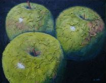 """Trio of Apples 2, Acrylic on textured canvas, 16"""" x 20"""", 2009"""