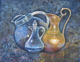 """Trio of Pitchers; acrylic on collaged papers and fabrics, 20"""" x 24"""", 2011"""