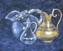 """Trio of pitchers, acrylic on texturized canvas, 16"""" x 20"""", 2010, by Susan Hay"""