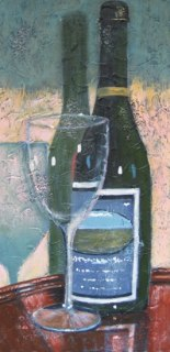 """Wine Bottle and Glass; acrylic on texturized canvas, 15"""" x 30"""", 2011"""