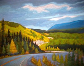 "Yukon through my windshield series #1, acrylic on texturized canvas, 28 x 36"", 2012"