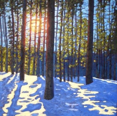 """Winter Morning, acrylic on texturized canvas, 30"""" x 30"""" SOL"""