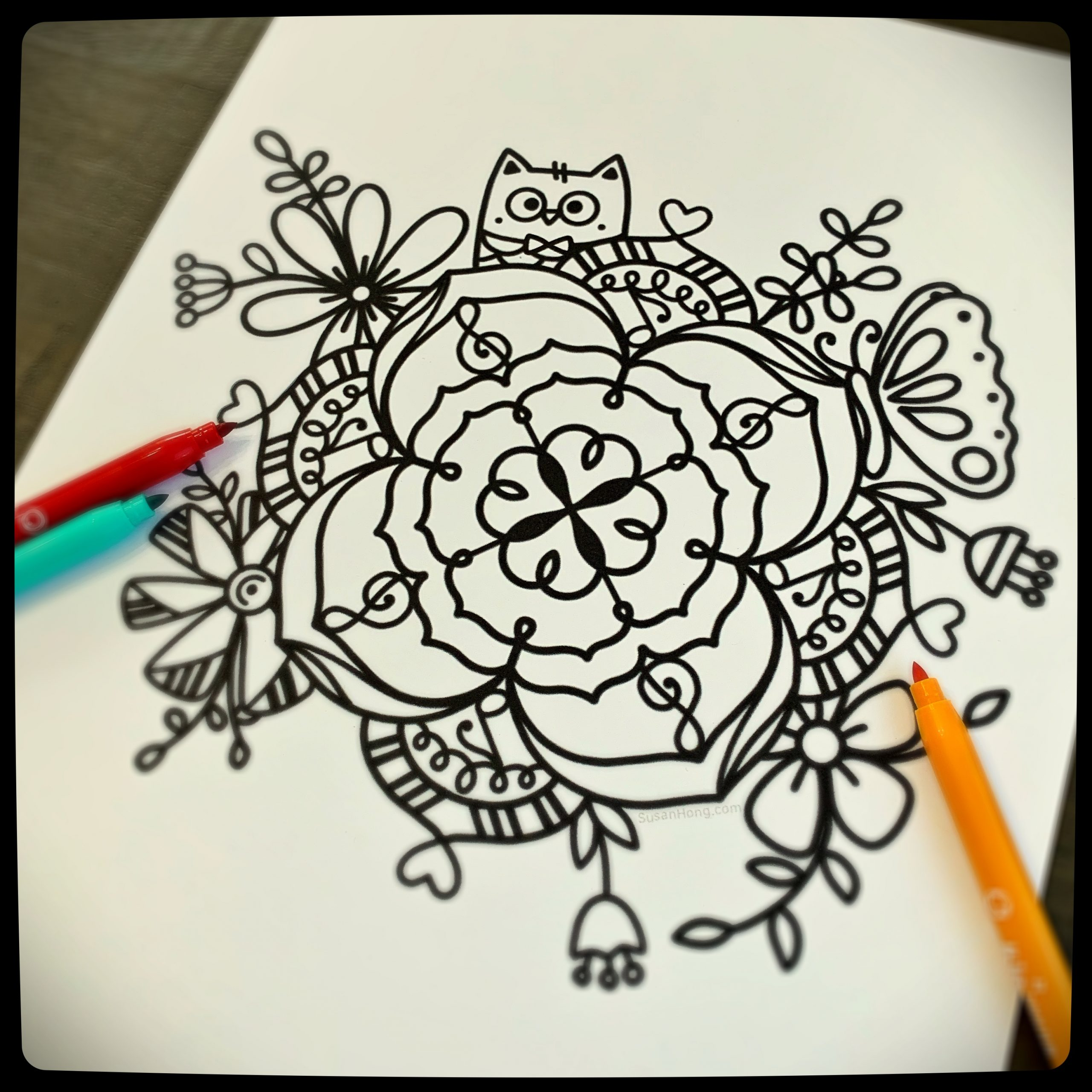 Musical Bouquet Coloring Page