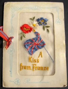 Picture of a WW1 embroidered silk postcard