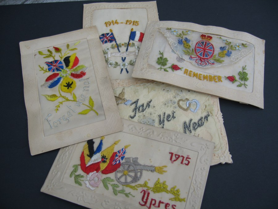 Picture of WW1 silk postcards