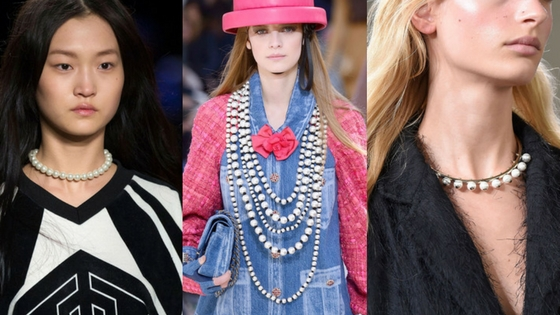 fall jewelry trends pearls Chanel choker necklaces
