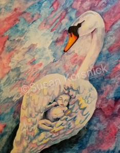 Swan with Baby, illustration by Susan Korsnick