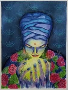 She Sees, illustration of woman gazing into a glowing orb, by Susan Korsnick