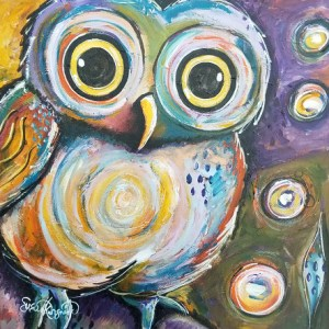 Whooo Me is an acrylic painting by Susan Korsnick. This little owl seems surprised to learn that the answers are within itself.