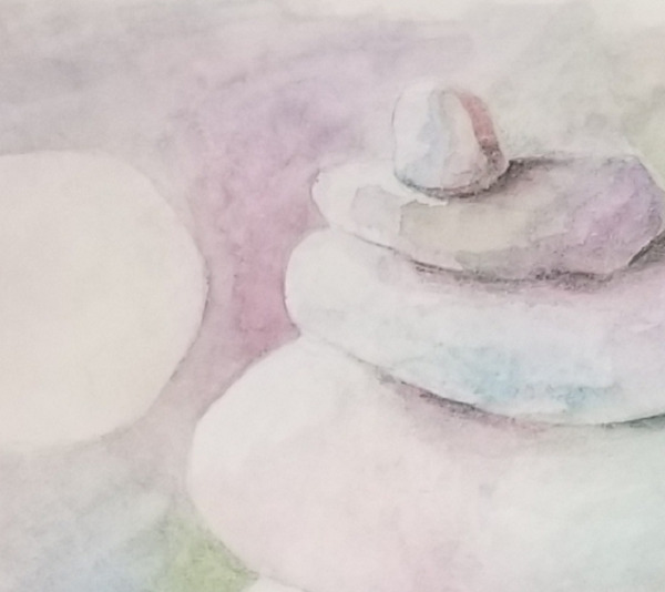 detail of Balanced, a watercolor painting by Susan Korsnick