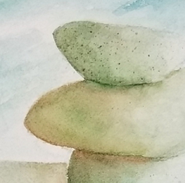 detail of Serenity, a watercolor painting by Susan Korsnick. Image of cairn on the beach