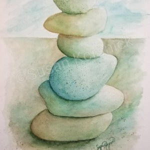Serenity, a cairn in blues, browns, and greens, is a watercolor painting by Susan Korsnick