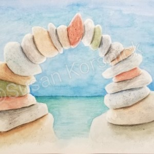 Unity, a cairn watercolor, by Susan Korsnick
