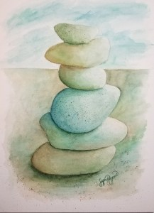 Serentiy, a watercolor of a cairn, by Susan Korsnick