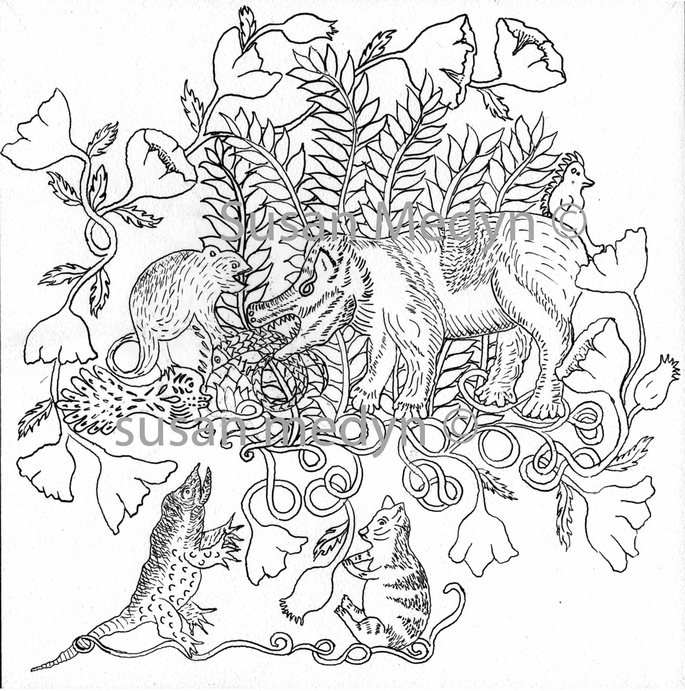 Lizard In Pen And Ink