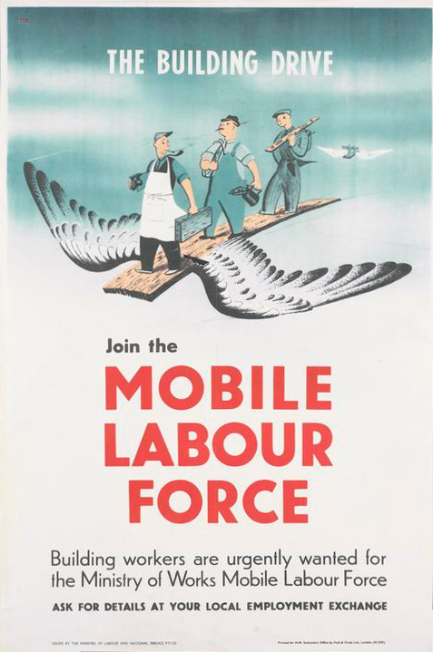 By Dekk, Dorrit (artist), Fosh and Cross Ltd, London (printer), Ministry of Works Mobile Labour Force (publisher/sponsor), Her Majesty's Stationery Office (publisher/sponsor), Ministry of Labour and National Service (publisher/sponsor) [Public domain], via Wikimedia Commons}]
