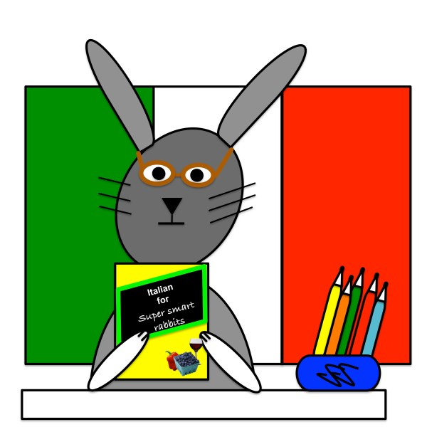 Cartoon rabbit studying Italian