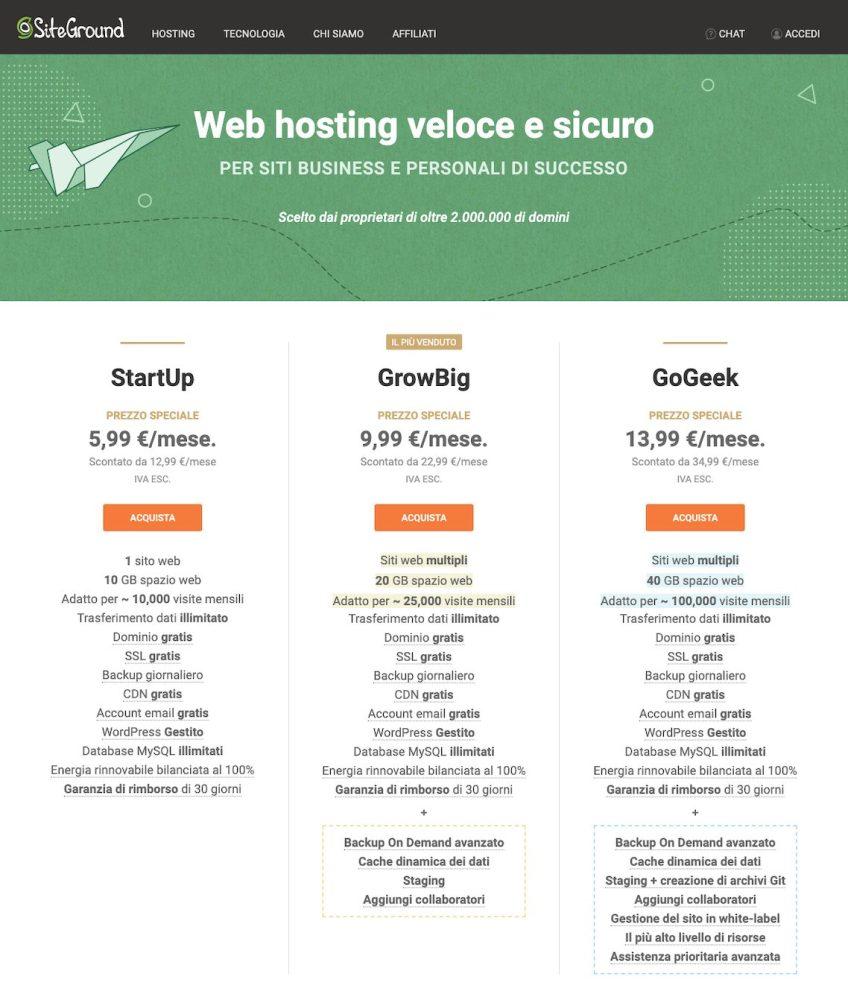 Immagine per la scelta del piano di Siteground più adatto: Startup, Growbig o Gogeek