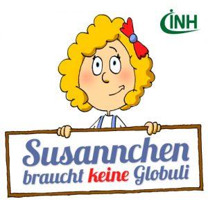 """Susannchen, das Maskottchen des INH, stellt ihre Familienseite """"Susannchen braucht keine Globuli"""" vor."""
