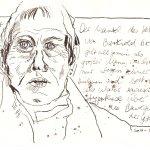 """""""… gilt allgemein als ein großer Mann, …"""", 15 x 20 cm, Tusche auf Büttenpapier (c) Zeichnung von Susanne Haun"""