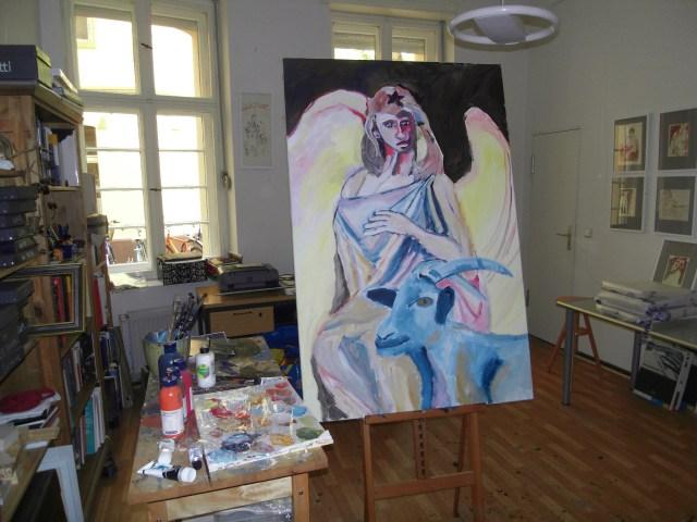 Atelier von Susanne Haun, im Vordergrund Wächterengel