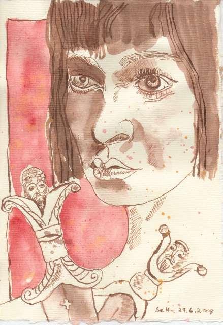 Schaden viel, Derdriu, folgt deinem Ruhm schönem Antlitz. - Zeichnung von Susanne Haun