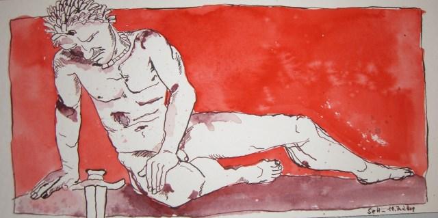 Sterbender Gallier - Zeichnung von Susanne Haun