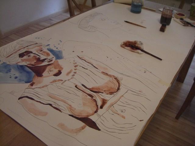 Entstehung Engel - Zeichnung von Susanne Haun