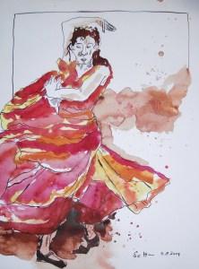 Flamenco - Zeichnung von Susanne Haun