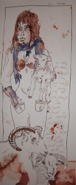 Ziegenfamilie - Zeichnung von Susanne Haun