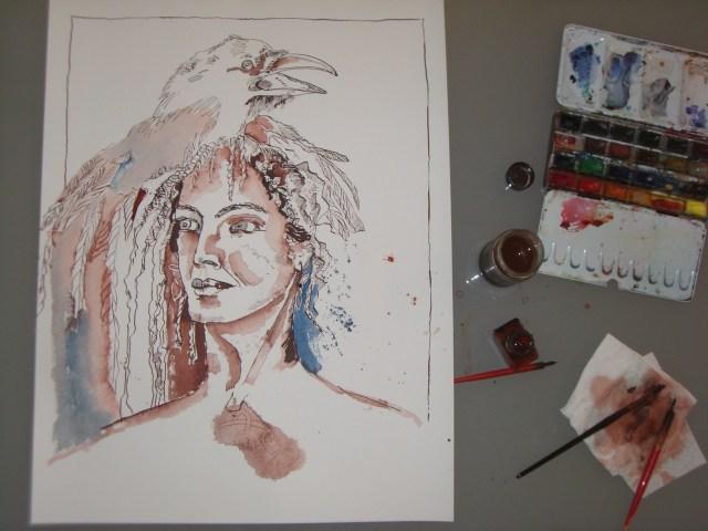 Vogelfrau - Zeichnung von Susannne Haun