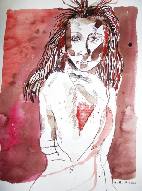 Die Haare stehen zu Berge - Zeichnung von Susanne Haun