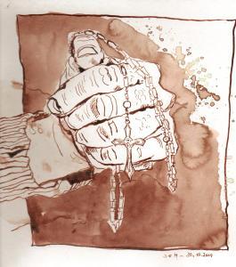 Rosenkranz II - Zeichnung von Susanne Haun