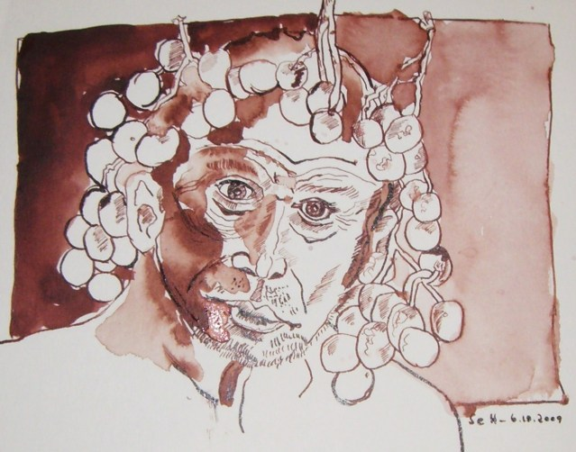 Bacchus - Zeichnung von Susanne Haun