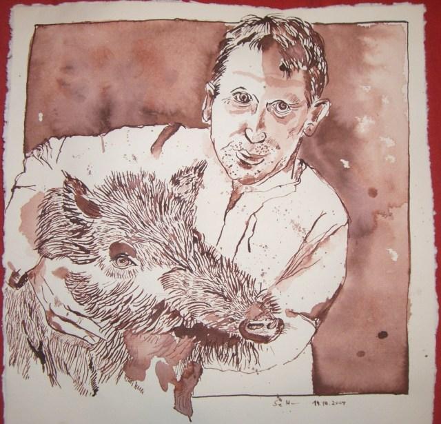 Der Schweinehirt Friuch - Zeichnung von Susanne Haun