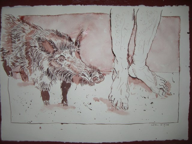 Der Schweinehirt Rucht - Zeichnung von Susanne Haun