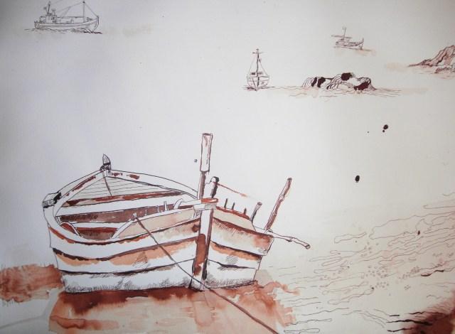 Ausschnitt Entstehung Trauminsel II - Zeichnung von Susanne Haun