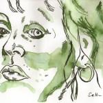 Selbst von Vorne - Zeichnung von Susanne Haun - 15 x 20 cm - Tusche auf Bütten