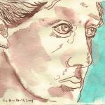 Engel französischer Friedhof I - Zeichnung von Susanne Haun - 15 x 20 cm - Tusche und Aquarell auf Bütten