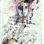 Das Buch Henoch - Engel 3 - Zeichnung von Susanne Haun - 20 x 15 cm - Tusche und Buntstift auf Bütten