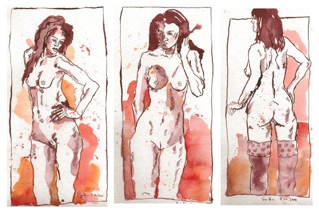 Drei Grazien - Zeichnungen von Susanne Haun