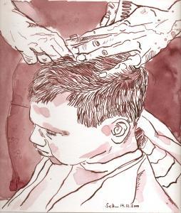 Beim Friseur - Zeichnung von Susanen Haun - 25 x 25 cm - Tusche auf Bütten