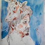 Stiermann - Zeichnung von Susanne Haun - 60 x 50 cm - Tusche und Aquarell auf Bütten