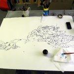 Entstehung Wolken - Zeichnung von Susanne Haun - 70 x 100 cm