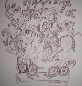 Die heilige Familie - Zeichnung von Susanne Haun - 30 x 30 cm - Tusche auf Bütten